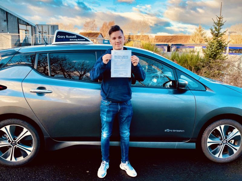 Keirin passed his test in Dunfermline Driving Test Centre.
